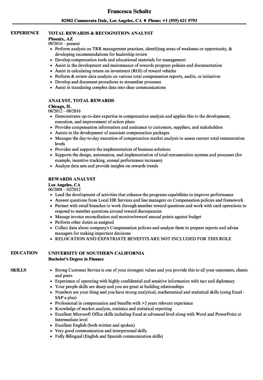 Rewards Analyst Resume Samples Velvet Jobs