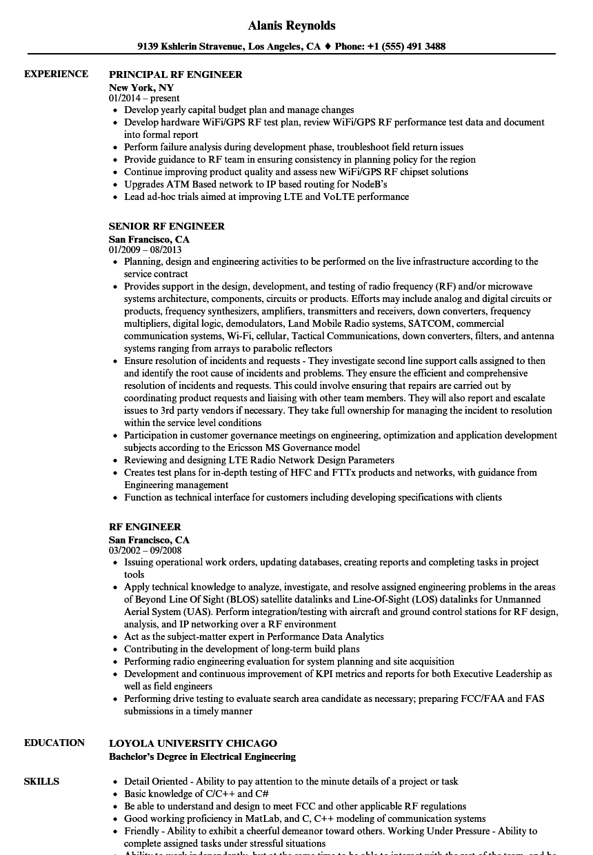 Rf Engineer Resume
