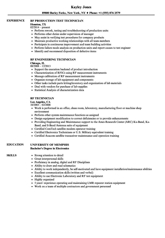 Download Rf Technician Resume Sample As Image File