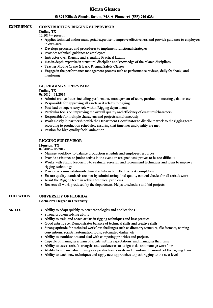 lifting supervisor resume sample