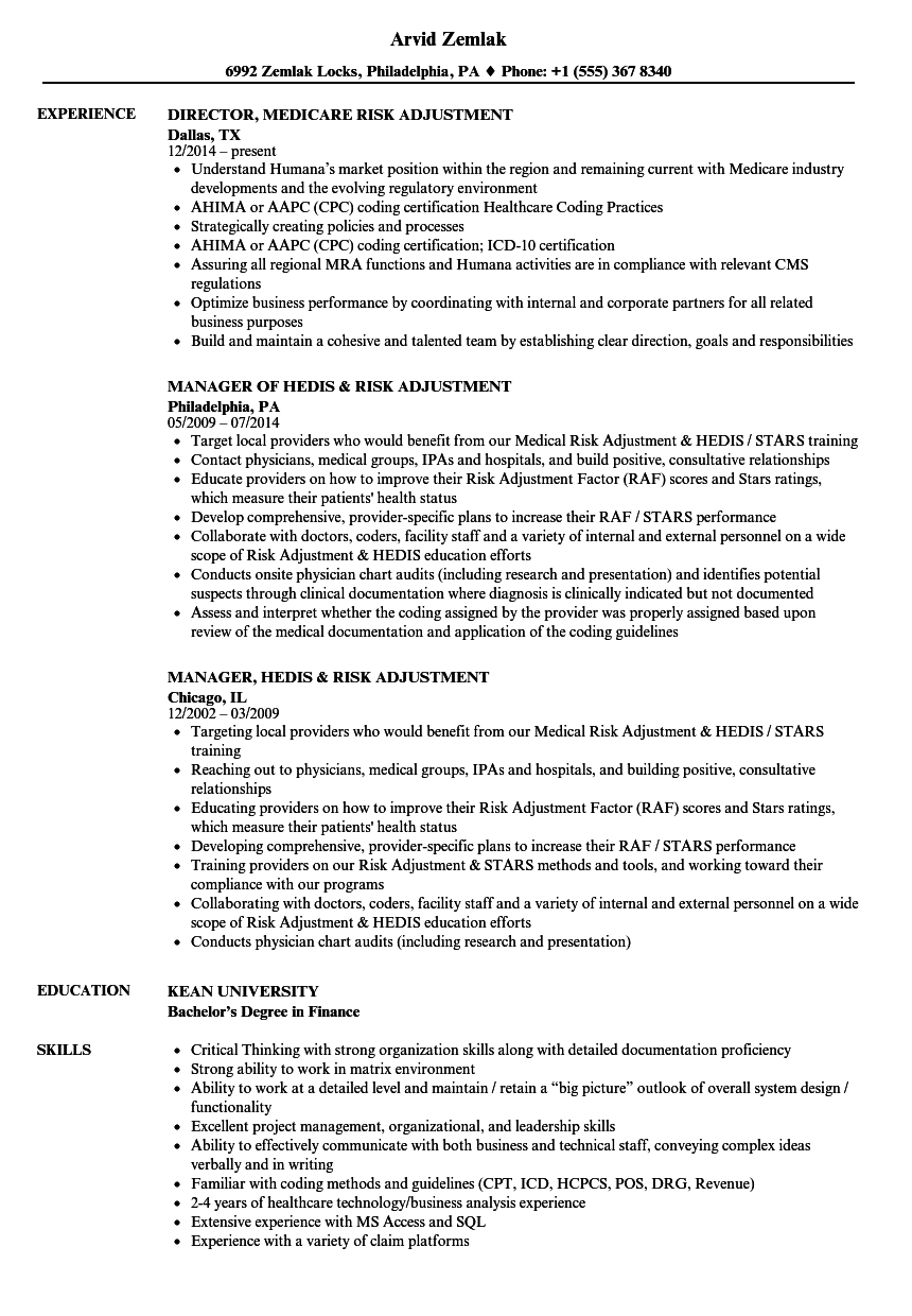 risk adjustment coding resume adjectives examples