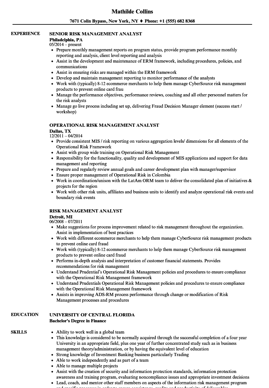 Risk Management Analyst Resume Samples Velvet Jobs