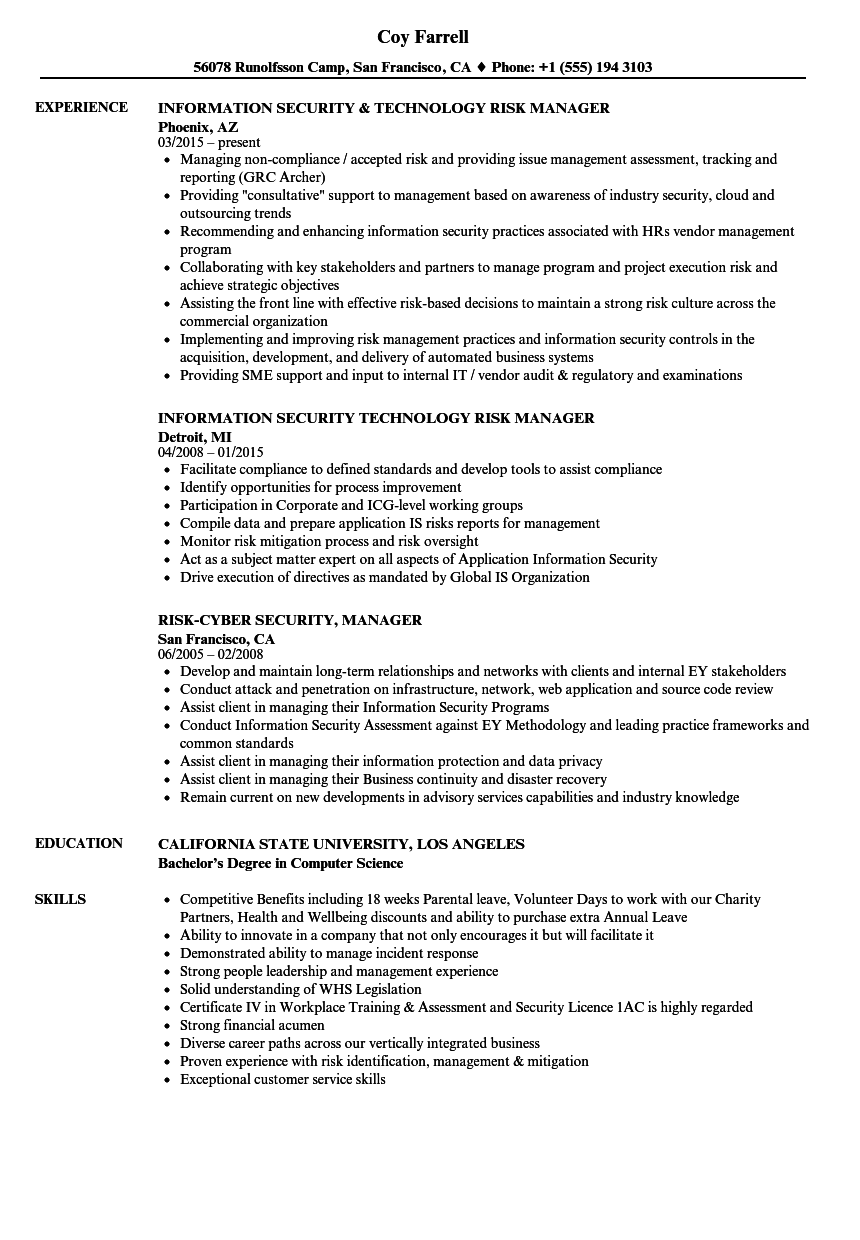 sample resume for security manager position