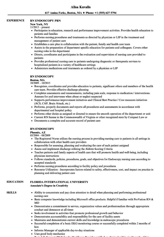 Endoscopy Technician Sample Resume
