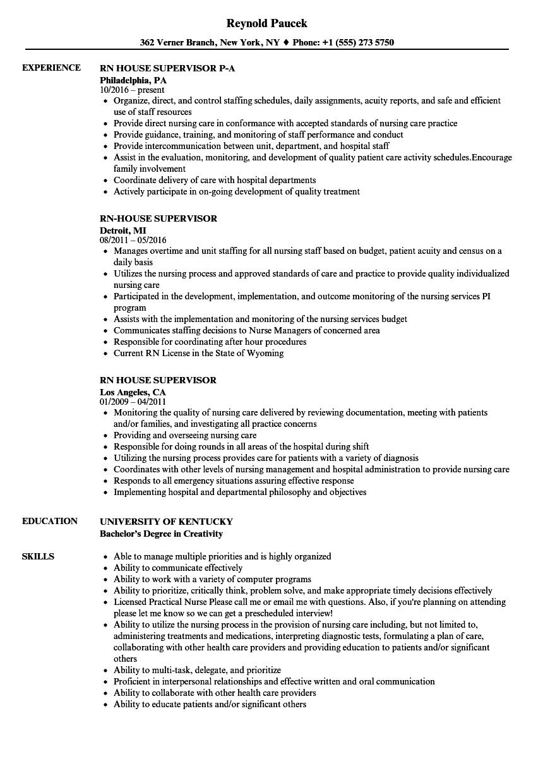 Rn House Supervisor Resume Samples  Velvet Jobs