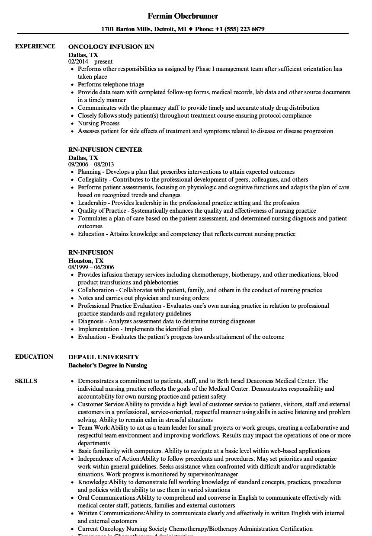 Rn Infusion Resume Samples Velvet Jobs