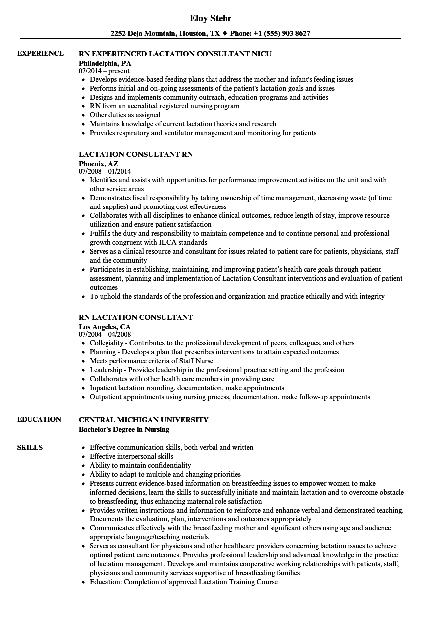 Download Rn Lactation Consultant Resume Sample As Image File