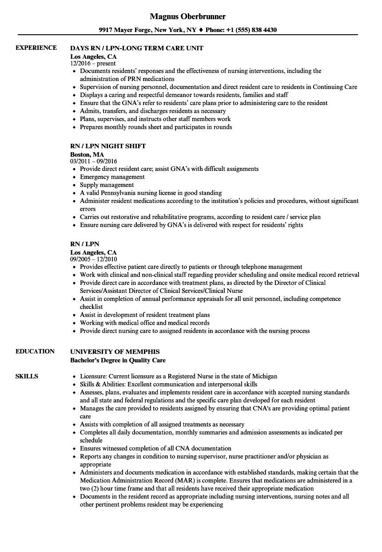 Rn  lpn Resume Samples  Velvet Jobs