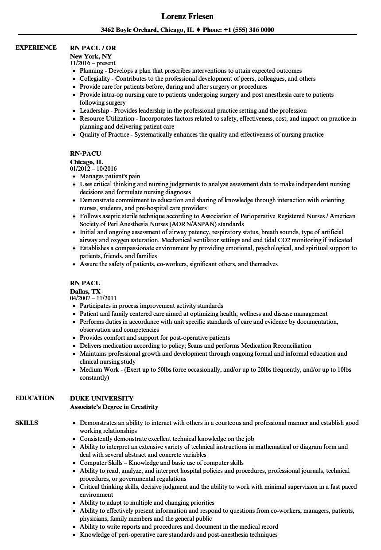 RN Pacu Resume Samples Velvet Jobs