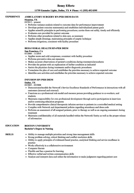 RN Per Diem Resume Samples  Velvet Jobs
