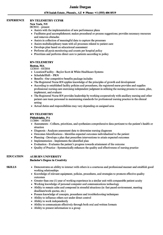 cardiac telemetry rn resume sample