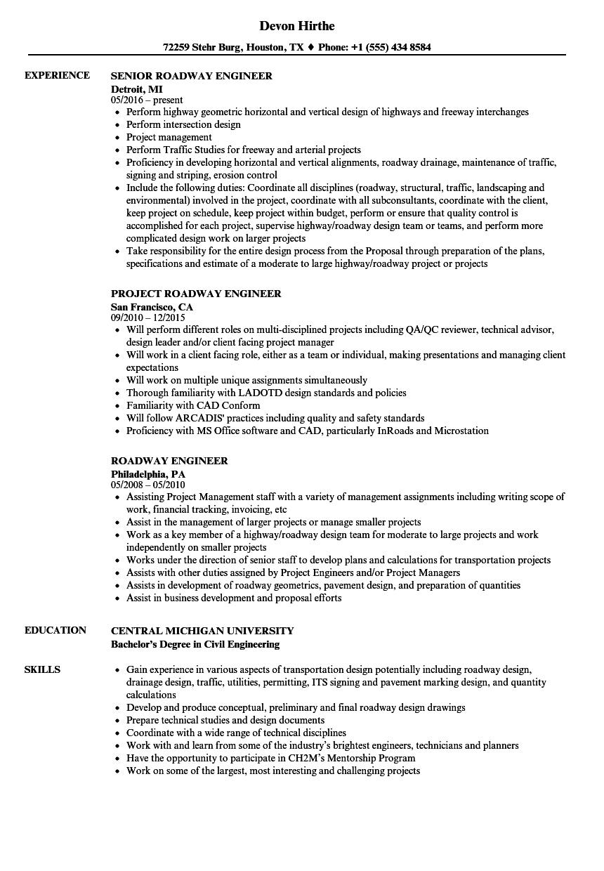 roadway engineer resume sample