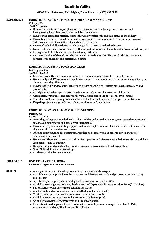 uipath developer resume sample