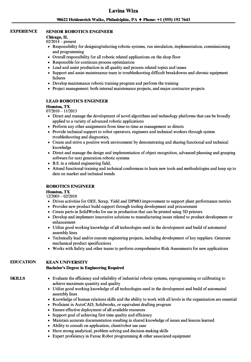 Download Robotics Engineer Resume Sample As Image File
