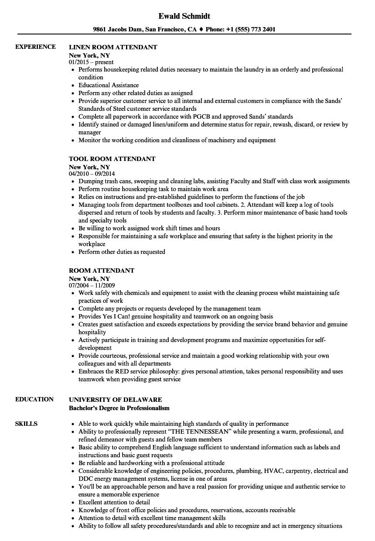 Room Attendant Resume Samples  Velvet Jobs