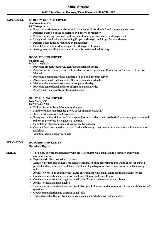 sample resume for hotel food server