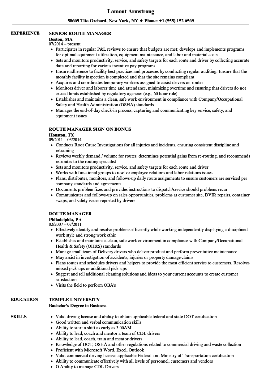 Route Manager Resume Samples  Velvet Jobs