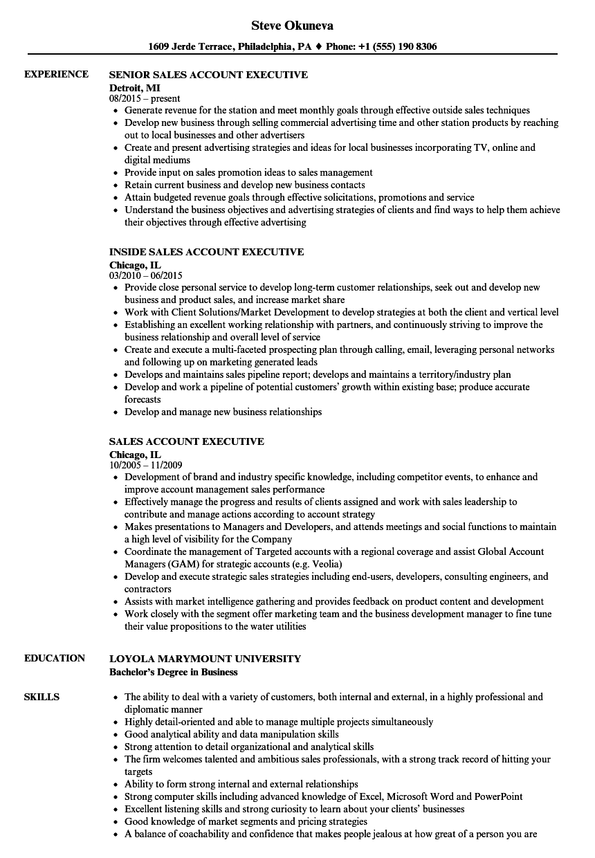 sample resume for outside sales executive