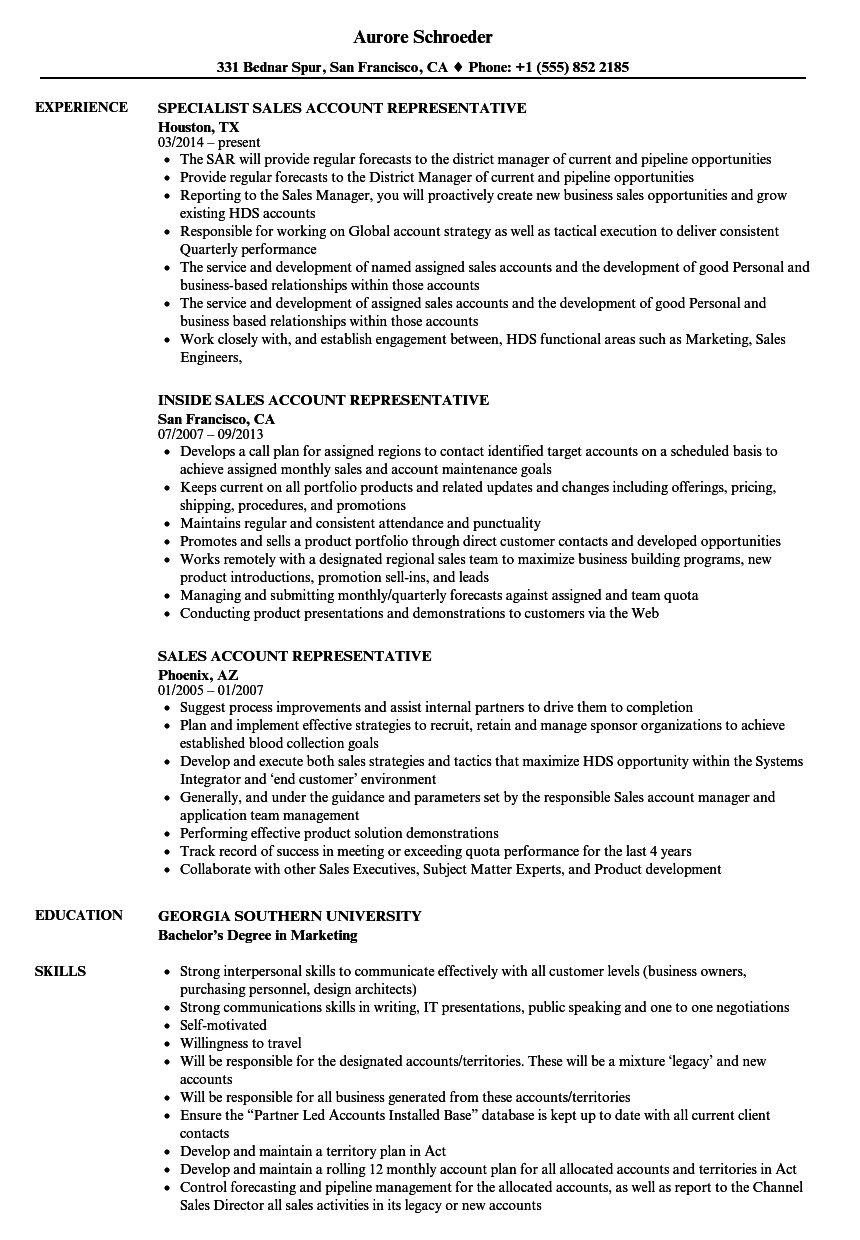 Sales Account Representative Resume Samples Velvet Jobs