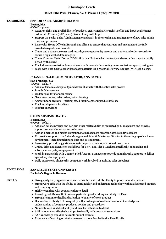 Download Sales Administrator Resume Sample As Image File