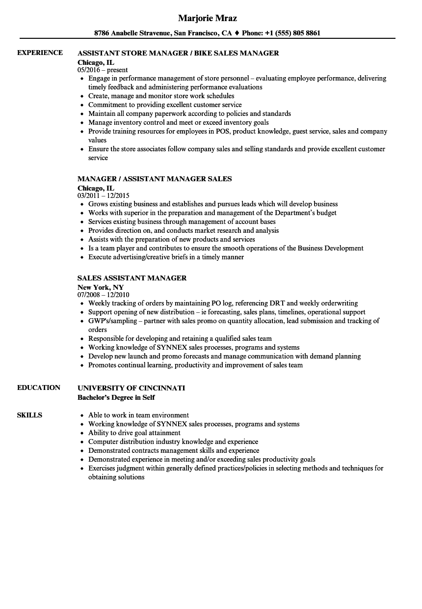 Download Sales Assistant Manager Resume Sample As Image File
