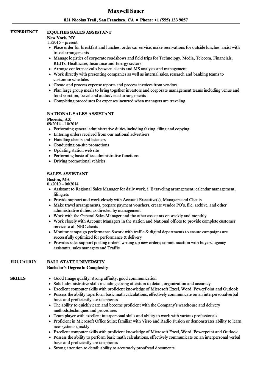 sales assistant resume examples