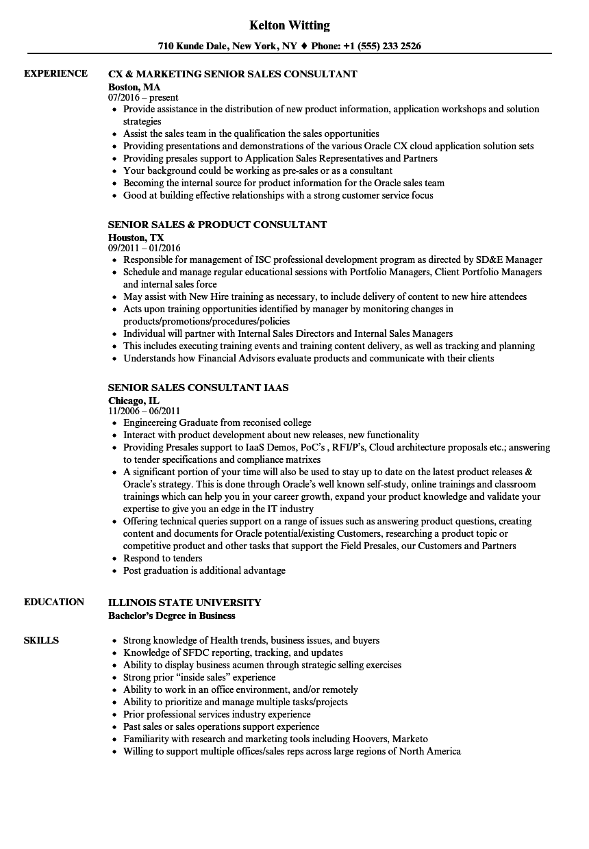 Sales Consultant Senior Sales Consultant Resume Samples