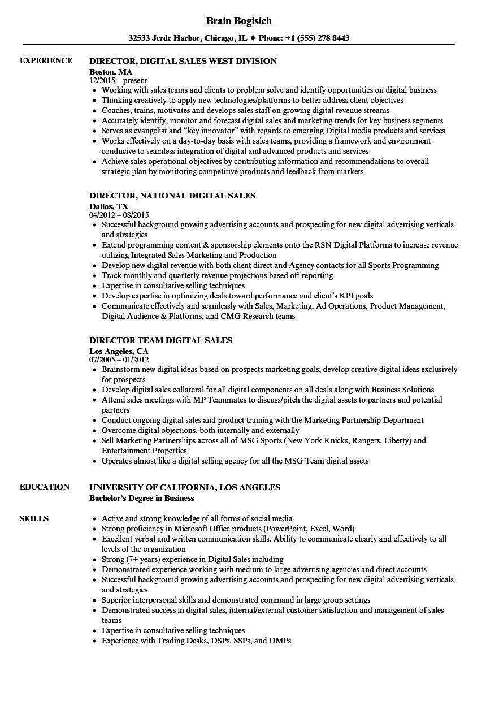 digital sales resume sample
