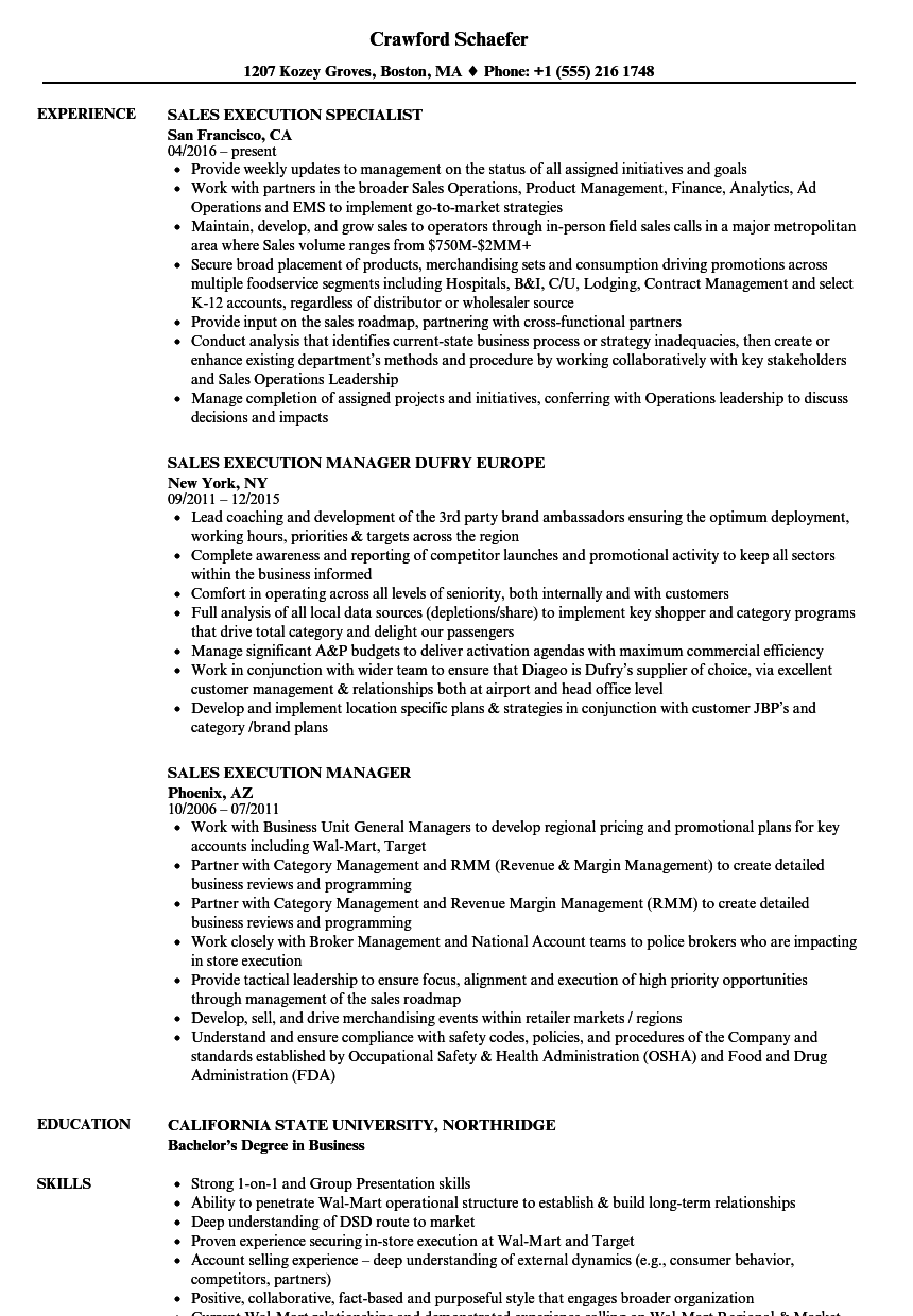 Download Sales Execution Resume Sample As Image File
