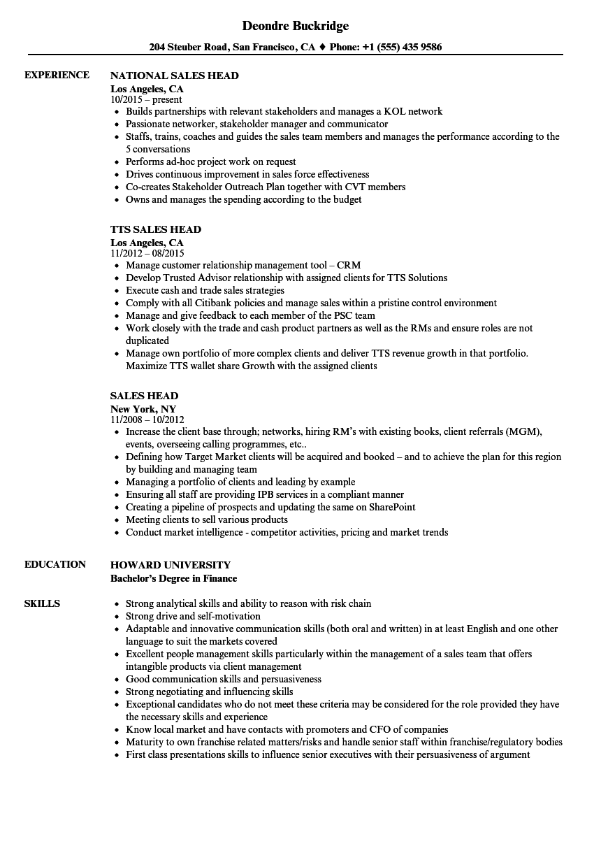 Sales Head Resume Samples Velvet Jobs