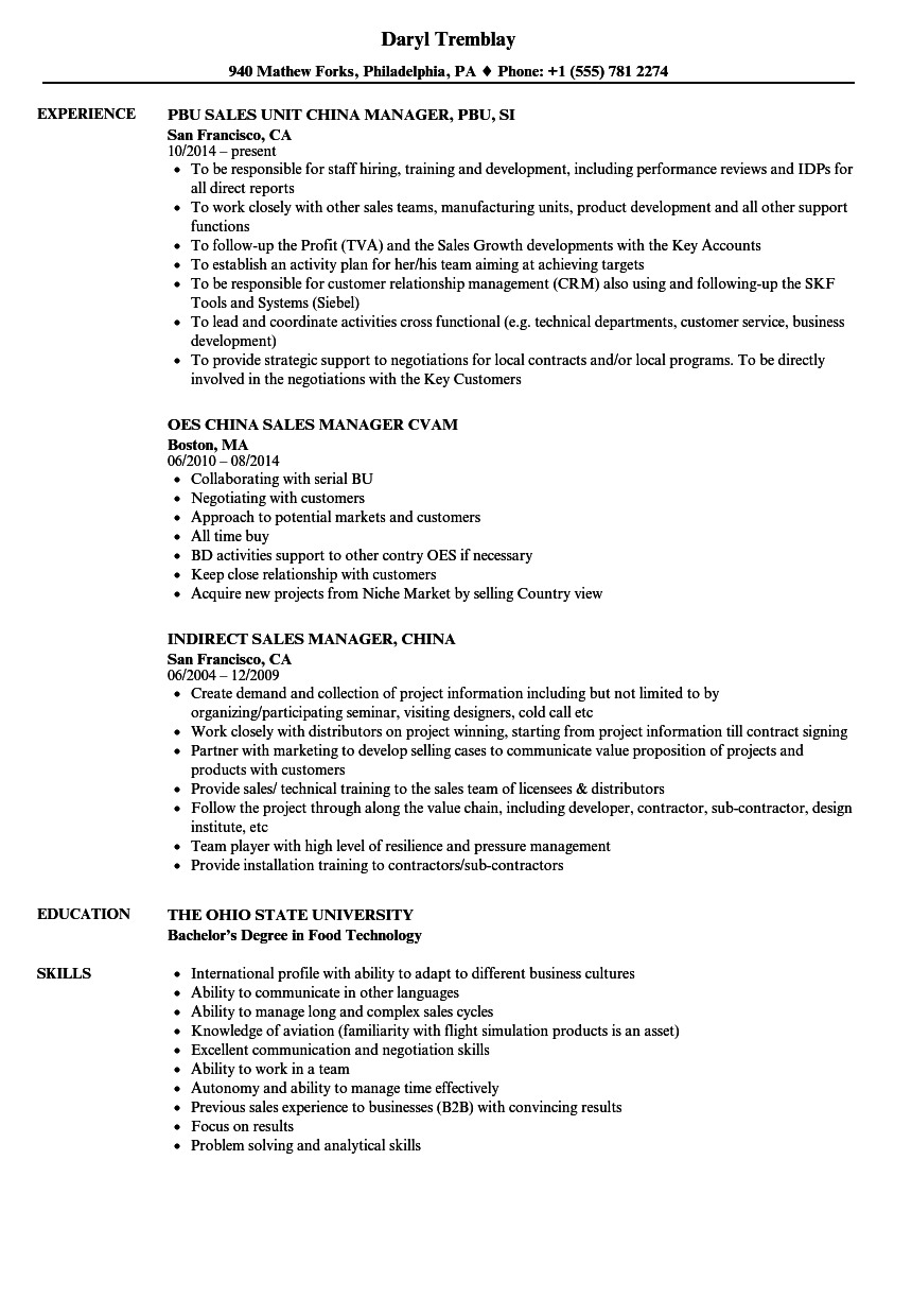 sales and service manager resume sample
