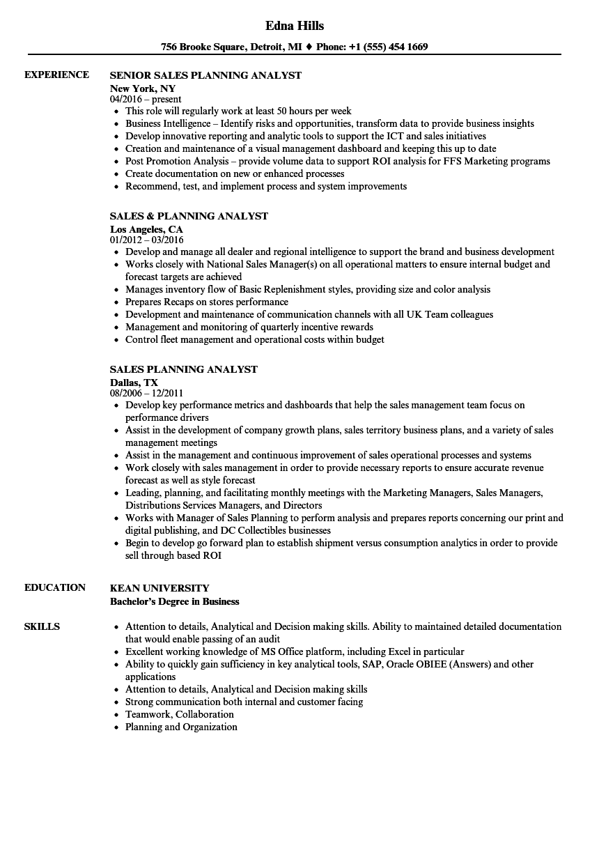Attractive Sales Planning Analyst Resume Samples Velvet Jobs