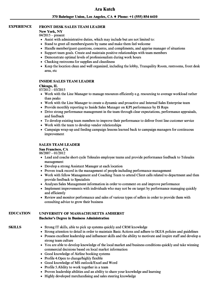 Team Leader Resume Example Examples Of Resumes
