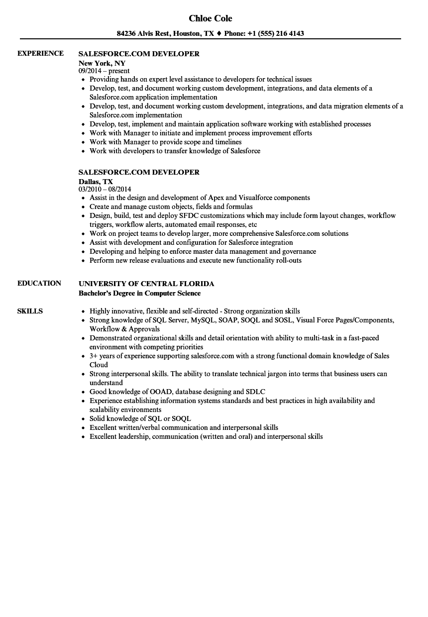Salesforce Com Developer Resume Samples Velvet Jobs