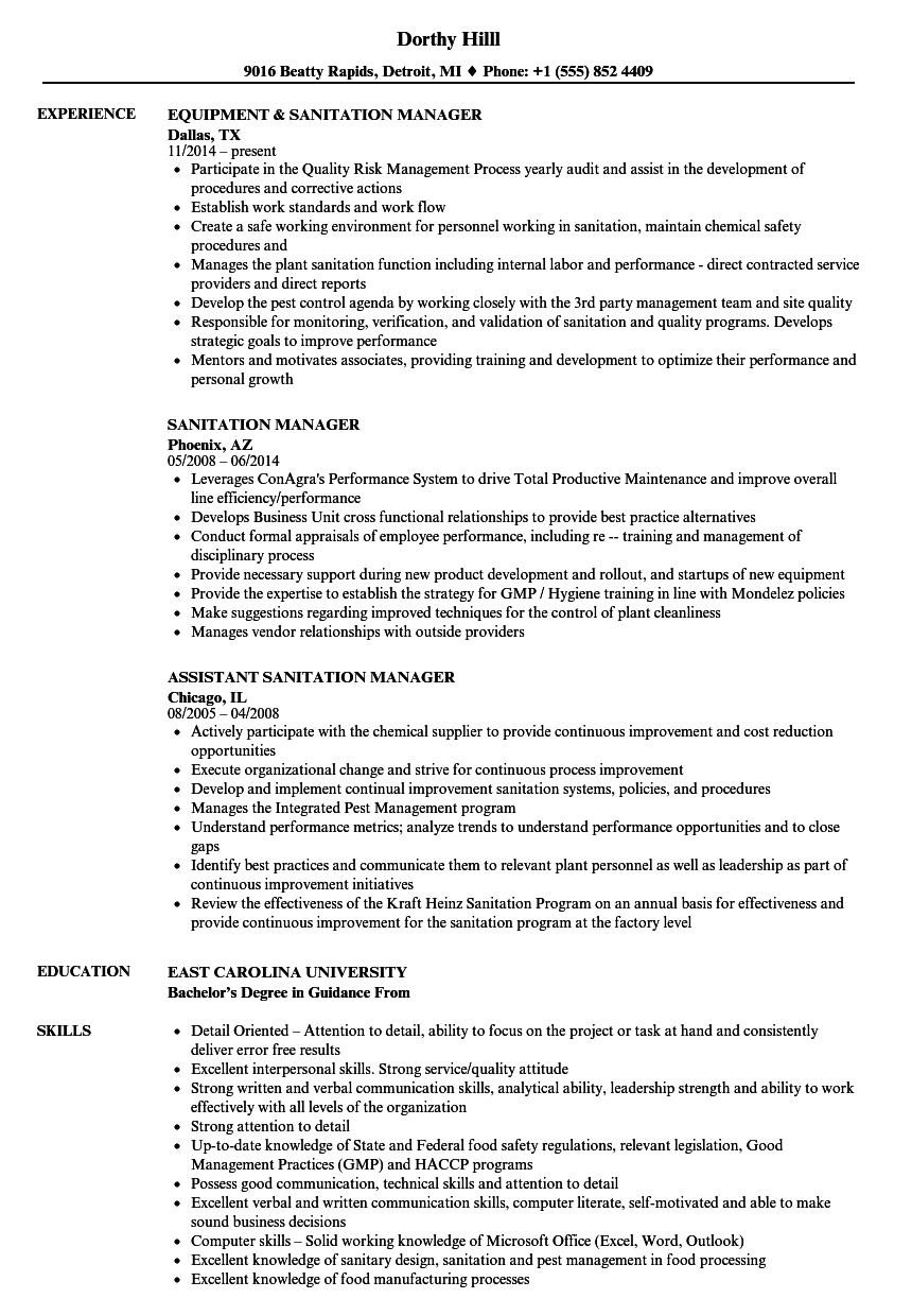 Sanitation Manager Resume Samples Velvet Jobs