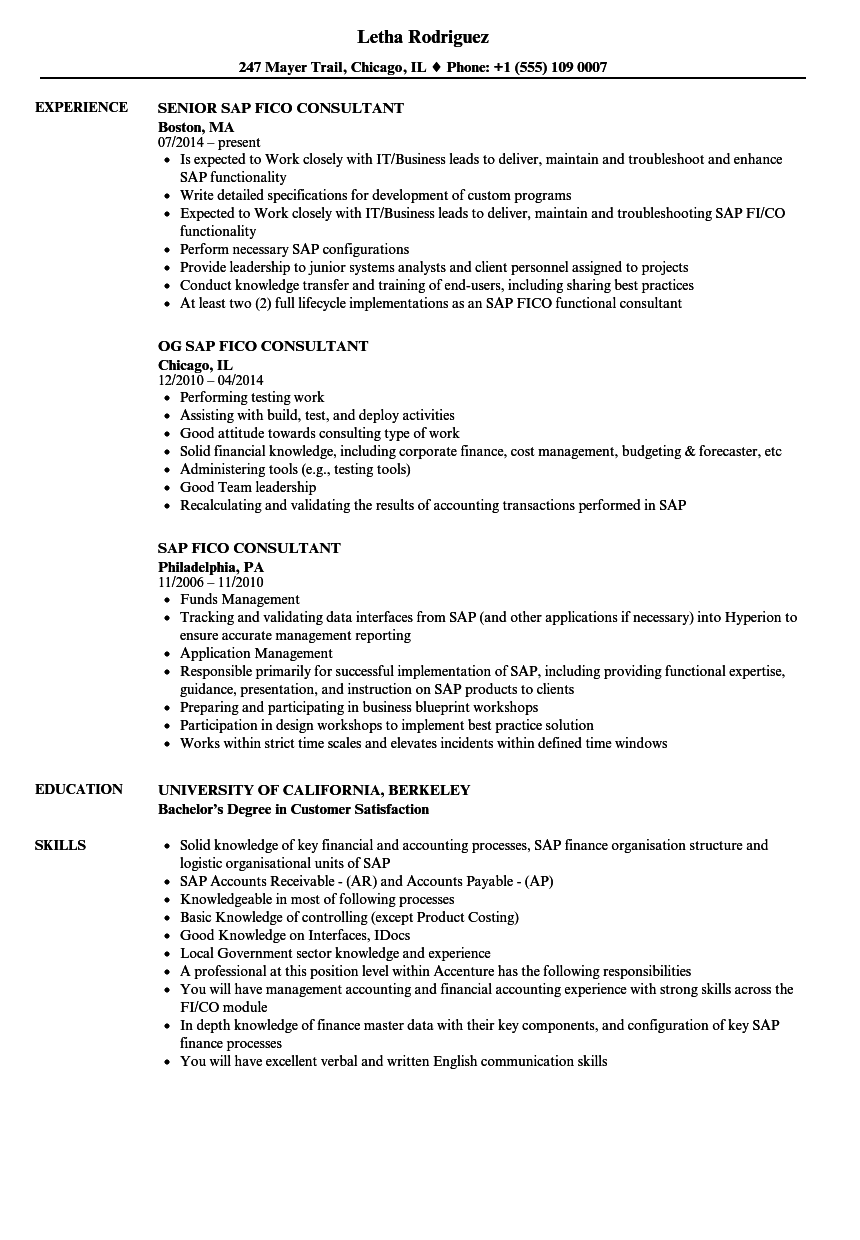 SAP Fico Consultant Resume Samples  Velvet Jobs