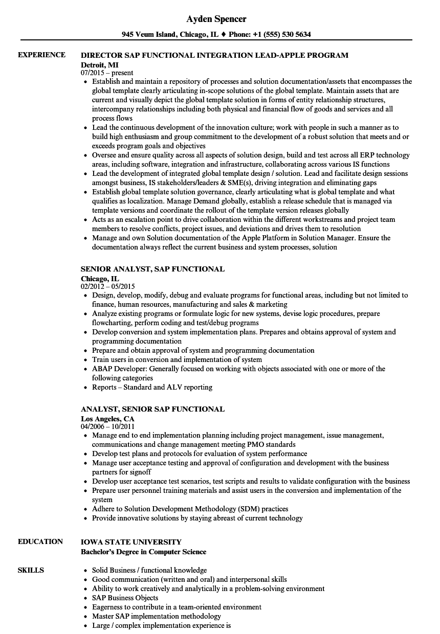 sample of a functional resume