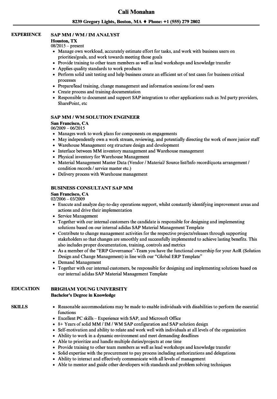 Sap Mm Resume Samples  Velvet Jobs