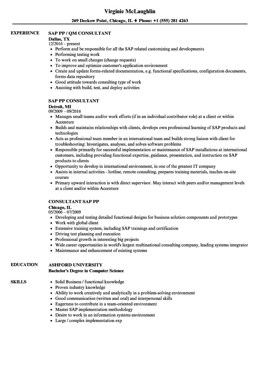 Sap Pp Resume Samples Velvet Jobs