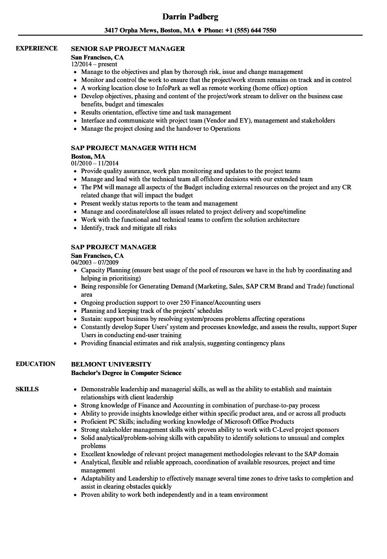 sap plm resume sample