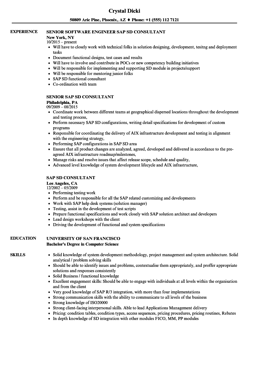 sap crm functional consultant resume sample