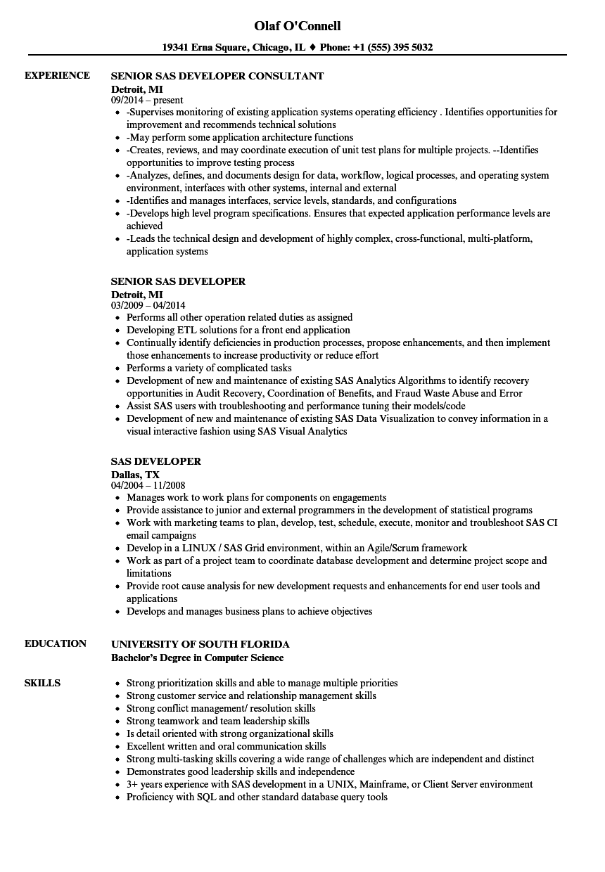 clinical sas resume sample