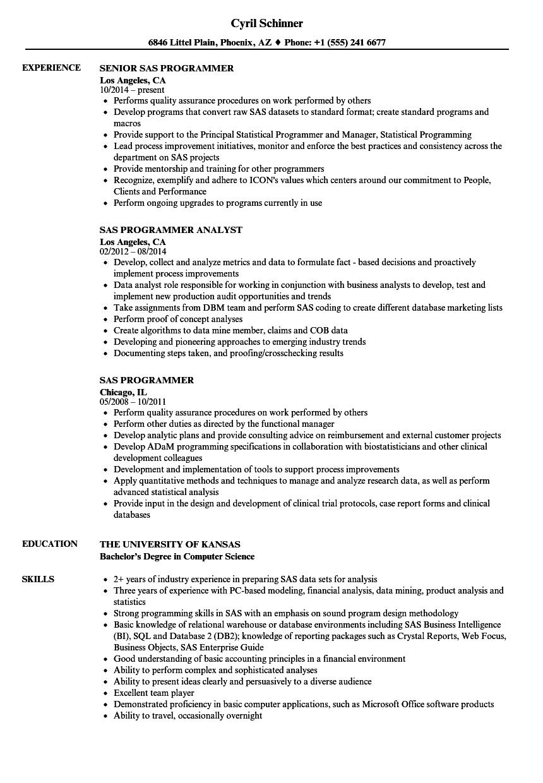 clinical sas programmer resume sample