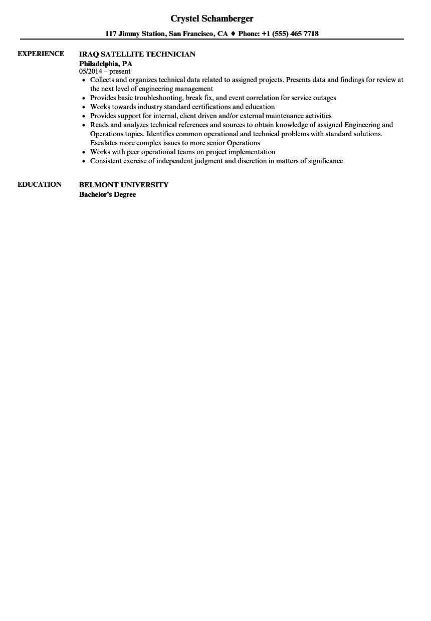 Satellite Technician Resume Samples Velvet Jobs