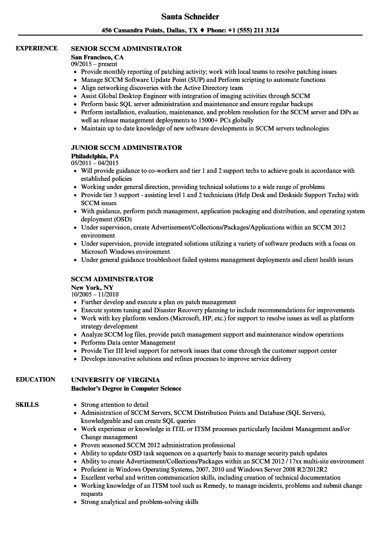 Sccm Administrator Resume Samples Velvet Jobs