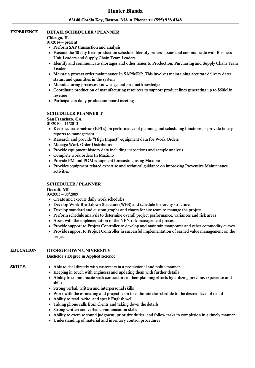 Scheduler  Planner Resume Samples  Velvet Jobs