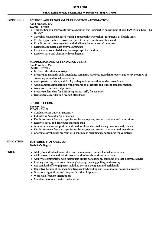 Clerical Work Resume