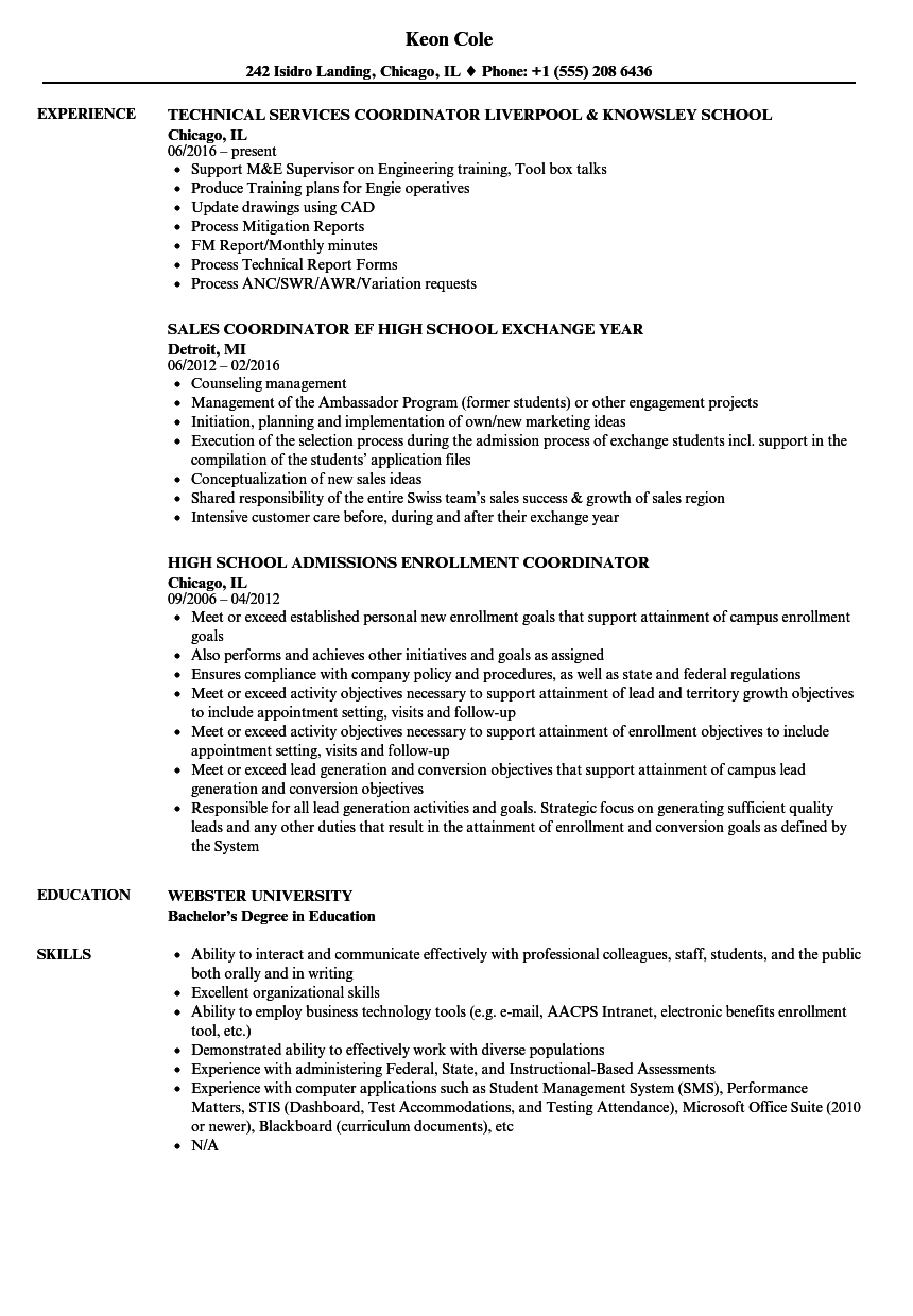 School Coordinator Resume Samples Velvet Jobs