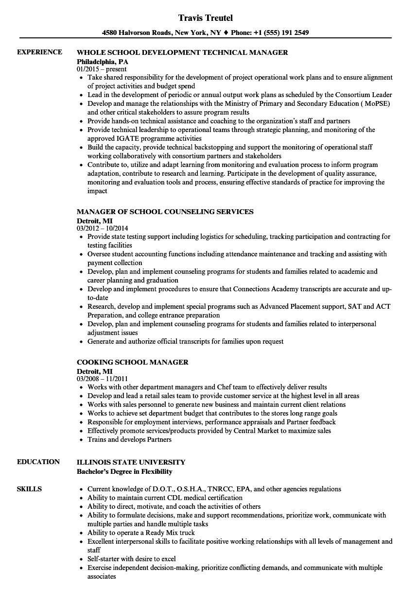 Download School Manager Resume Sample As Image File