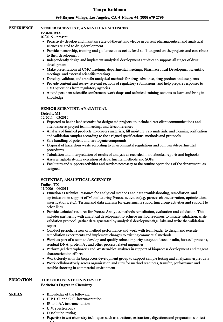 Scientist Analytical Resume Samples Velvet Jobs
